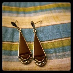 Carnelian and marcasite earrings